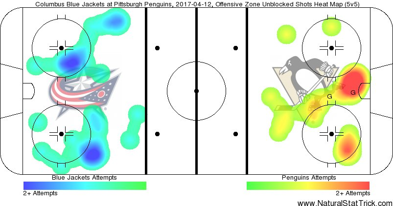Shot Heat Map for the first two periods of game one of the Eastern Conference Quarterfinals between Columbus and Pittsburgh