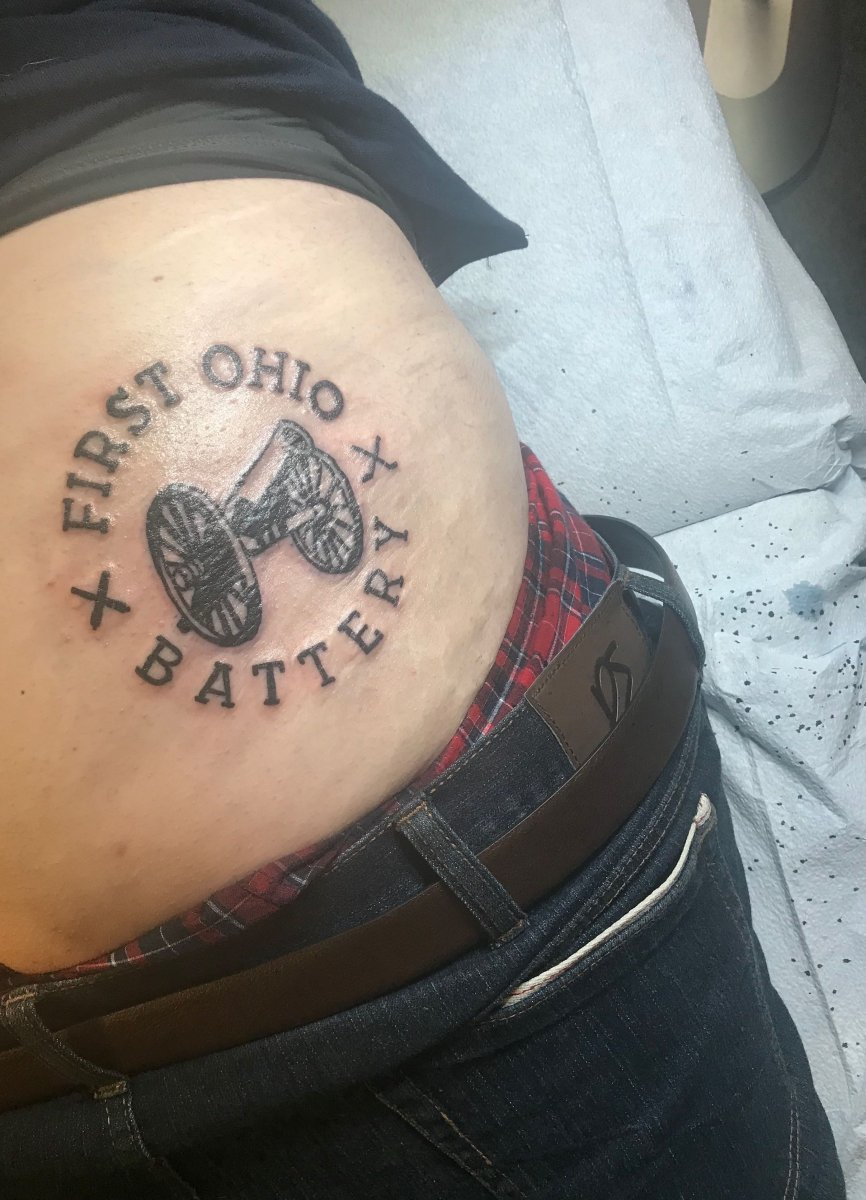 Sam Blazer's 1st Ohio Battery tattoo on his...well, you know.