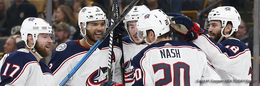 Columbus celebrates a goal in Boston.