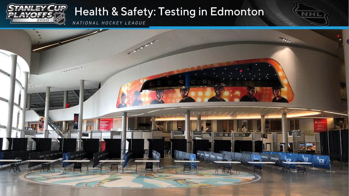 The testing setup at Rogers Place in Edmonton.