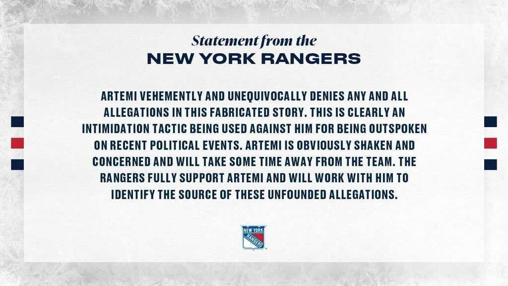 Statement from the New York Rangers on Artemi Panarin's leave of absence