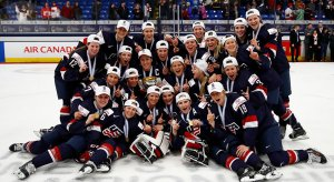 The U.S. Women's National Team after capturing gold at the 2017 IIHF Women's World Championship