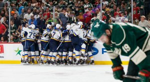 St. Louis Blues celebrate their series-clinching win over the Minnesota Wild.