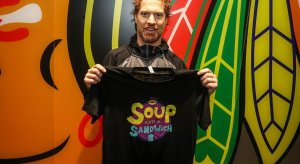 Brian Campbell shows off his 'Soup and a Sandwich' t-shirt