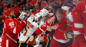Detroit Red Wings and Calgary Flames get involved in a line brawl
