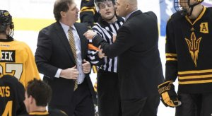 Michigan Tech and Arizona State coaches got into a skirmish during the handshake line post-game