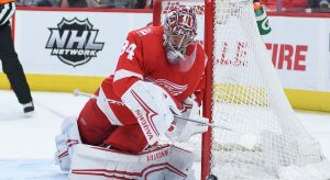 The Detroit Red Wings' Petr Mrazek makes a save