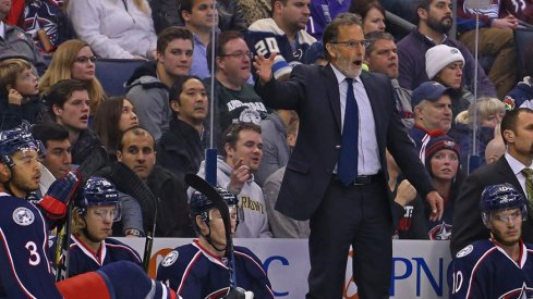 Blue Jackets head coach John Tortorella reacts to a call from the bench.