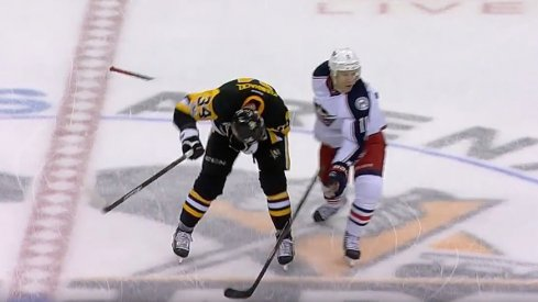 Matt Calvert broke his stick over Tom Kuhnhackl's back Friday night in Pittsburgh.