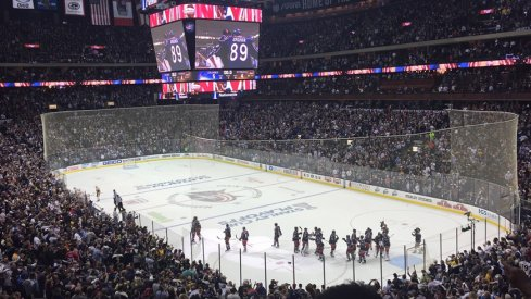 Columbus Blue Jackets handshake line following their 5-4 win over the Penguins.