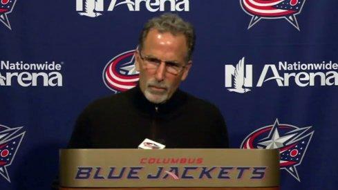 John Tortorella speaking at his end-of-season press conference.