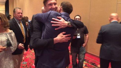 Nick Foligno and Sergei Bobrovsky embrace after Foligno's win