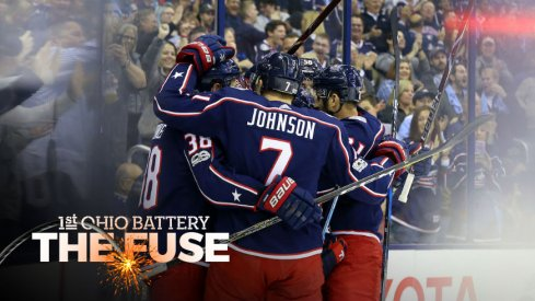 Blue Jackets celebrate a goal against the Kings