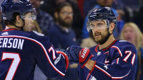 Nick Foligno and Josh Anderson fist-bump after a win over the New York Rangers