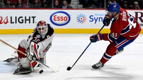 Sergei Bobrovsky makes a save against Paul Byron of the Montreal Canadiens
