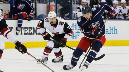 Artemi Panarin carries the puck against the Arizona Coyotes at Nationwide Arena. Panarin assisted on the game's only goal – one night after a five-assist game.