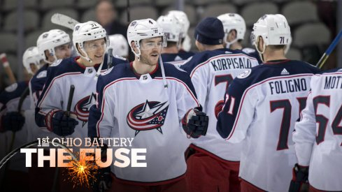 Blue Jackets celebrate a win over the Dallas Stars