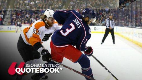 Seth Jones tries to skate away from the Flyers' Jakub Voracek