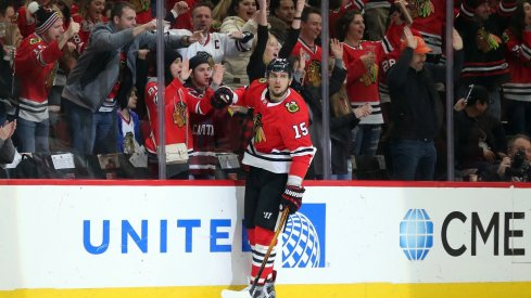 Artem Anisimov celebrates after scoring a goal for the Chicago Blackhawks