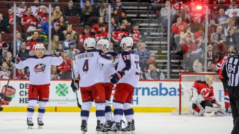 Blue Jackets celebrate a goal against New Jersey