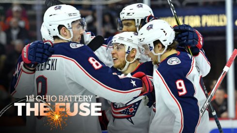 The Blue Jackets celebrate a goal against the Philadelphia Flyers