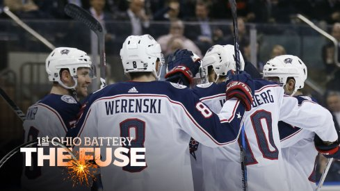 The Blue Jackets celebrate a goal against the New York Rangers.