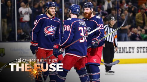 The Blue Jackets celebrate a goal against the Montreal Canadiens