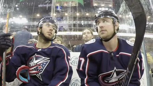 Brandon Dubinsky and Ryan Murray in the penalty box.