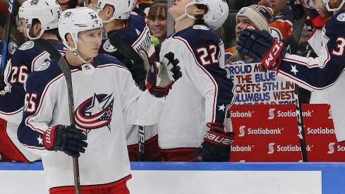 Markus Nutivaara celebrates a goal for the Columbus Blue Jackets.
