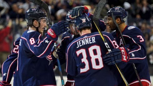 Blue Jackets celebrate a goal against the Washington Capitals in the first round of the Stanley Cup playoffs at Nationwide Arena.