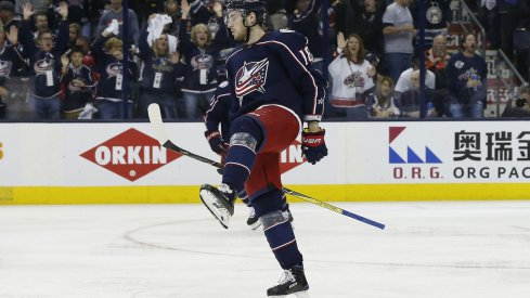 Columbus Blue Jackets center Pierre-Luc Dubois celebrates a goal against the Washington Capitals at Nationwide Arena in the Stanley Cup playoffs.