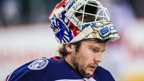 Columbus Blue Jackets goaltender Sergei Bobrovsky prepares for a start during warm-ups at the Scotiabank Saddledome.