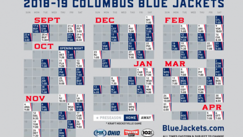 The complete 2018-19 Blue Jackets regular season schedule.