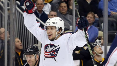 Columbus Blue Jackets forward Artemi Panarin celebrates a goal against the Pittsburgh Penguins.