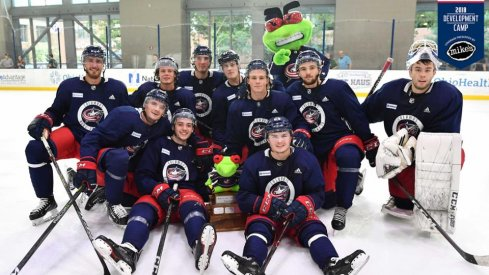 Jack Ahcan and Team Blue took home the Stinger Cup at Blue Jackets development camp