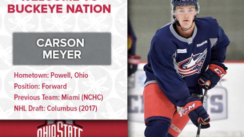 Blue Jackets prospect Carson Meyer, now eligible to play at Ohio State.