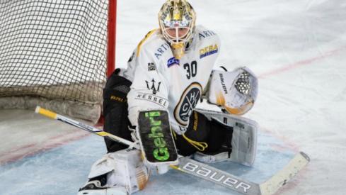 Columbus Blue Jackets prospect Elvis Merzlikins, in action for Swiss League side HC Lugano.