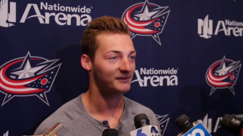 Carson Meyer speaks to the media during the 2017 Blue Jackets development camp