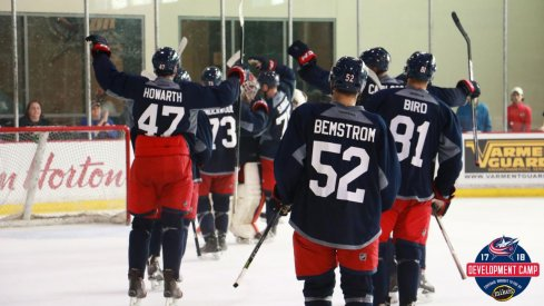 Emil Bemstrom celebrates with his team at Blue Jackets Development Camp.