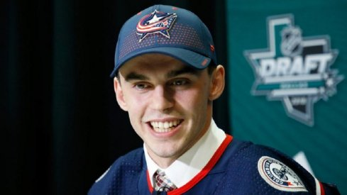 Columbus Blue Jackets forward Liam Foudy speaks to the media after being drafted at the 2018 NHL DRaf
