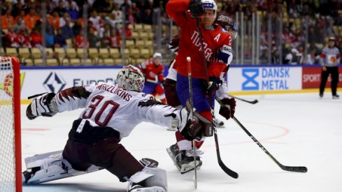 Elvis Merzlikins making a save against Norway at the 2018 IIHF World Hockey Championships