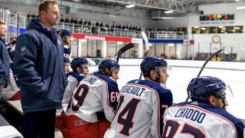 Cleveland Monsters head coach John Madden guides the Blue Jackets prospects in Traverse City, Michigan.