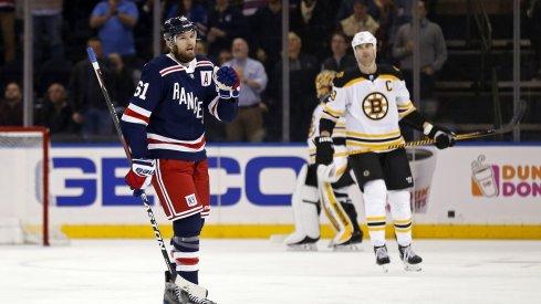 New York Ranger Rick Nash celebrates a goal against the Boston Bruins