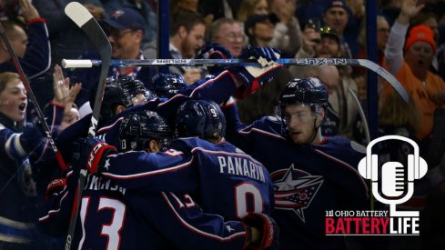 The Columbus Blue Jackets celebrate a goal against the Detroit Red Wings at Nationwide Arena.