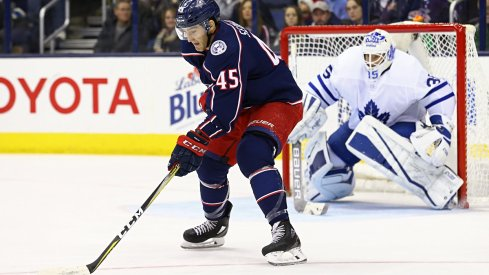 Columbus Blue Jackets center Lukas Sedlak handles the puck in a game against the Toronto Maple Leafs at Nationwide Arena.