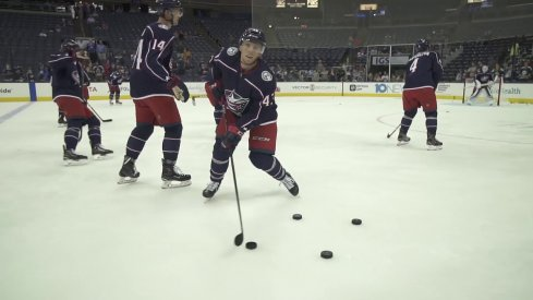Columbus Blue Jackets prospect Vitaly Abramov works on his stickhandling before preseason action at Nationwide Arena.