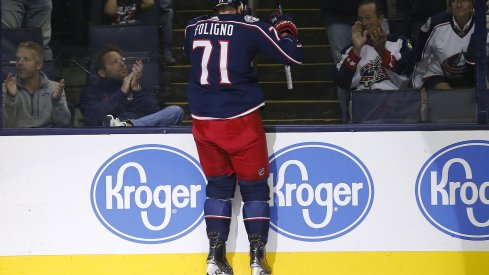 Nick Foligno celebrates his opening goal of the game against the Colorado Avalanche