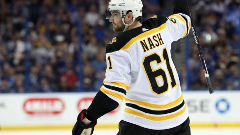 Boston Bruins forward and former Columbus Blue Jackets captain Rick Nash celebrates a Stanley Cup playoffs goal.