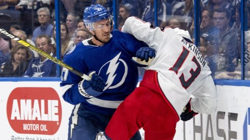 Lightning defenseman Ryan McDonagh throws a big hit on Blue Jackets forward Cam Atkinson