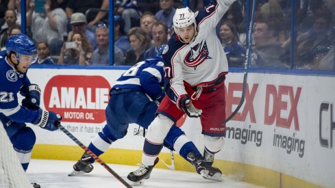 Josh Anderson sneaks past the Tampa Bay Lightning defense while in pursuit of the puck.